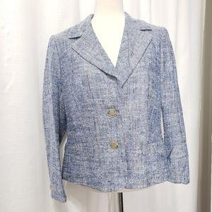 Escada silk linen tweed blazer jacket coat